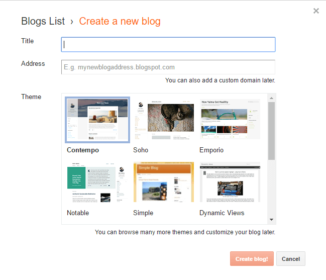 create new blog Blogger