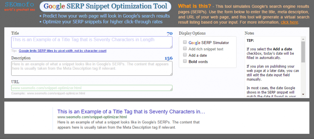 seomofo serp snippet optimization