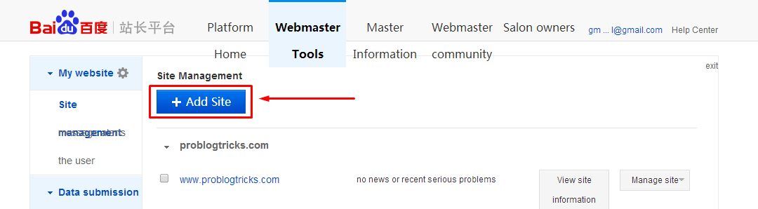 Add site to Baidu Webmaster tools