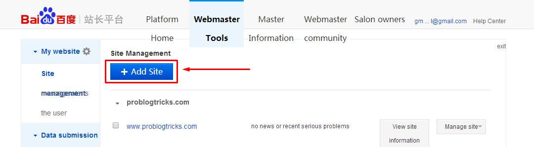 Add site to Baidu Webmaster tools