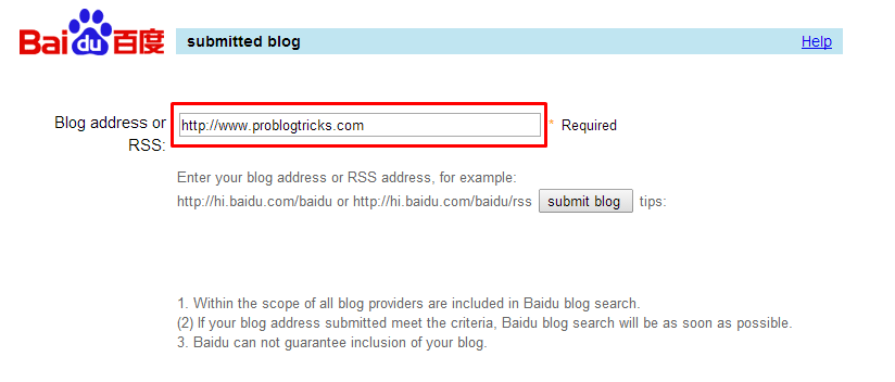 Ping Your Blog to Baidu Blog Search