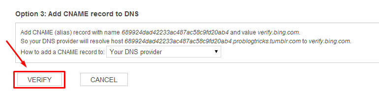 Verify Site Ownership : Bing Blogger