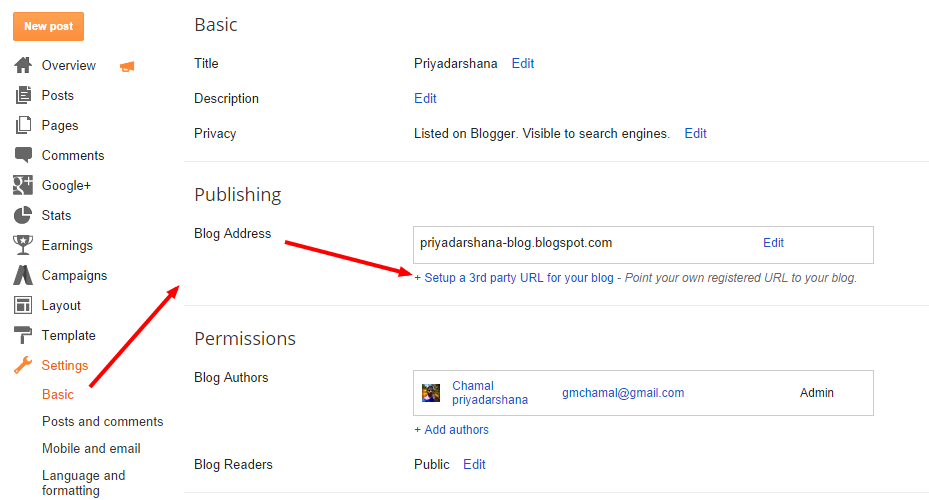 how to add blog to pae in blogger