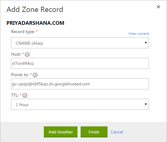 add zone record - godaddy