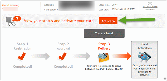 Activate Payoneer Card
