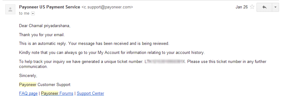Automatic Email : Payoneer US Payment service