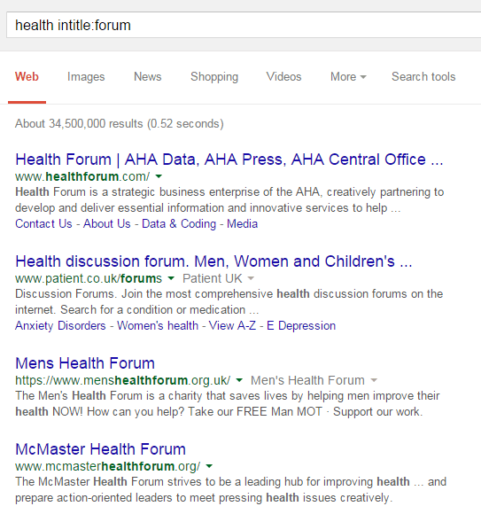search forums using Google