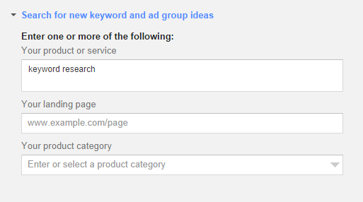 keyword research on product or service keyword search tool GKP