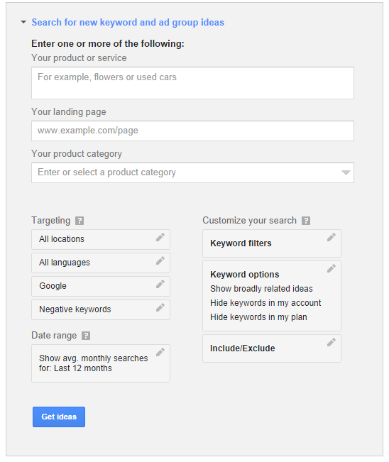 search for new keywords and ad group ideas - Google keyword planner
