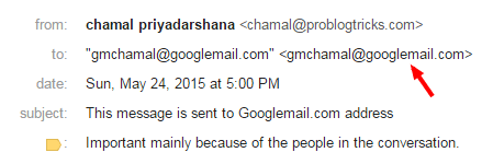 an email message sent from Googlemail.com address