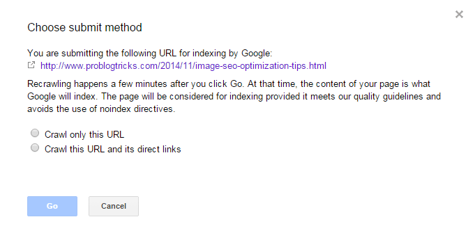 Choose submit method - Fetch as Google