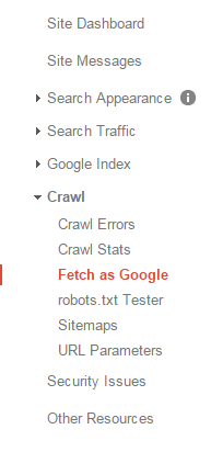 Fetch as Google - Google Webmaster Tools