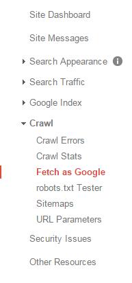 Fetch as Google - Google Webmaster Tools