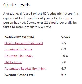 grade levels - readability formulas