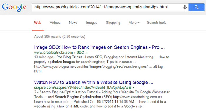 Indexed web page in google serp