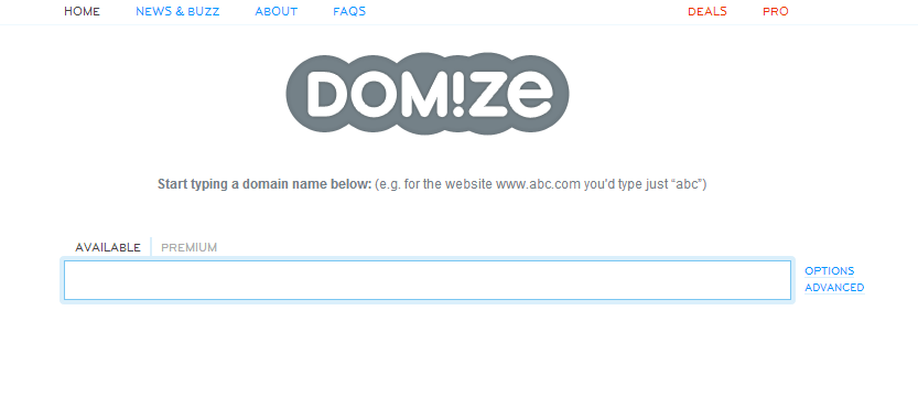Domize instant domain name finder