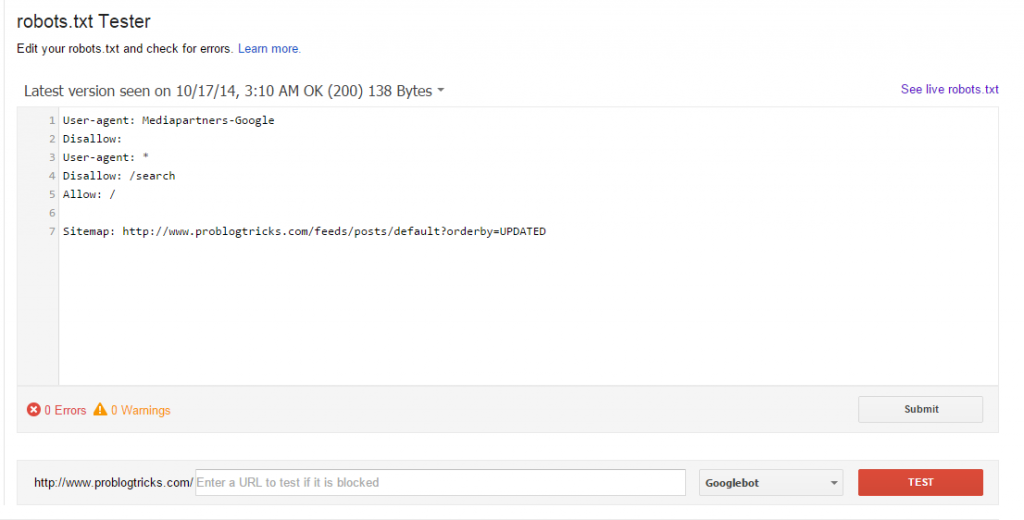 Robots.TXT Testing Tool - Google Webmaster Tools