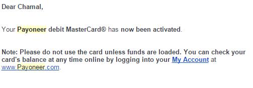 card is not activated email