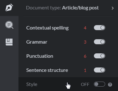 turn on and turn off settings of grammarly proofreader