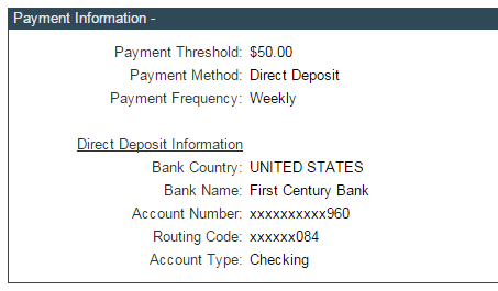 Clickbank ACH weekly deposit settings