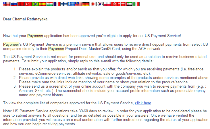 you are not eligible to apply for us payment service email