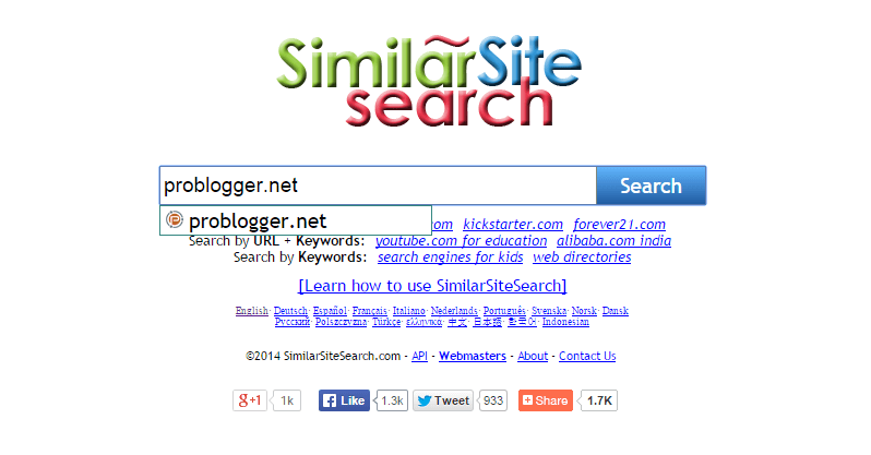 similar site search - find competitor websites