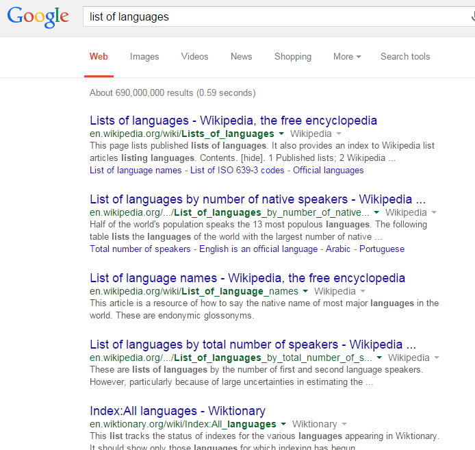 list of languages google search