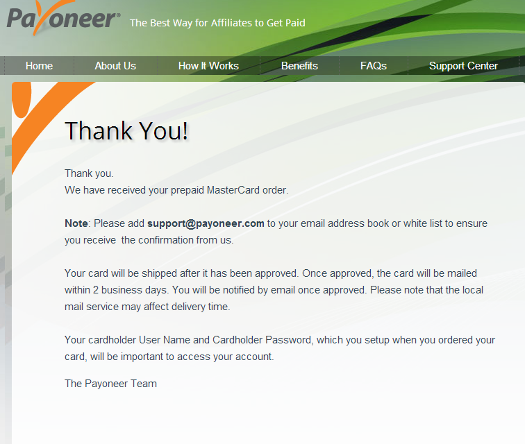 payoneer thank you page