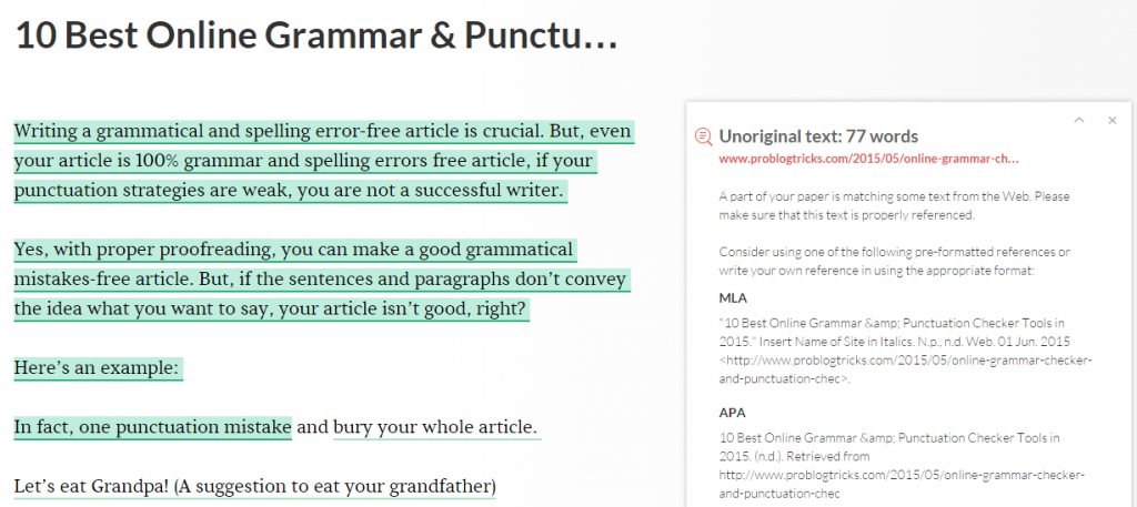 grammarly plagiarism checker results