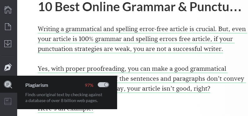 plagiarized article grammarly editor