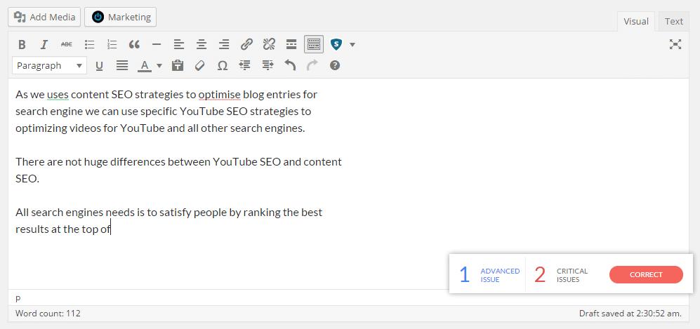 check grammar in wordpress post editor