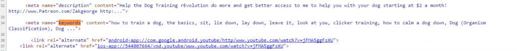 meta keywords tag - youtube