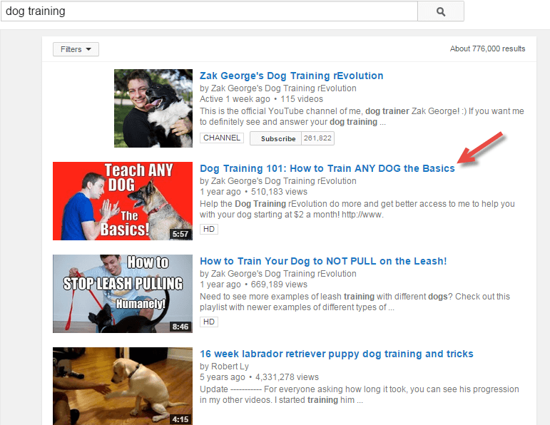 YouTube SERP for dog training