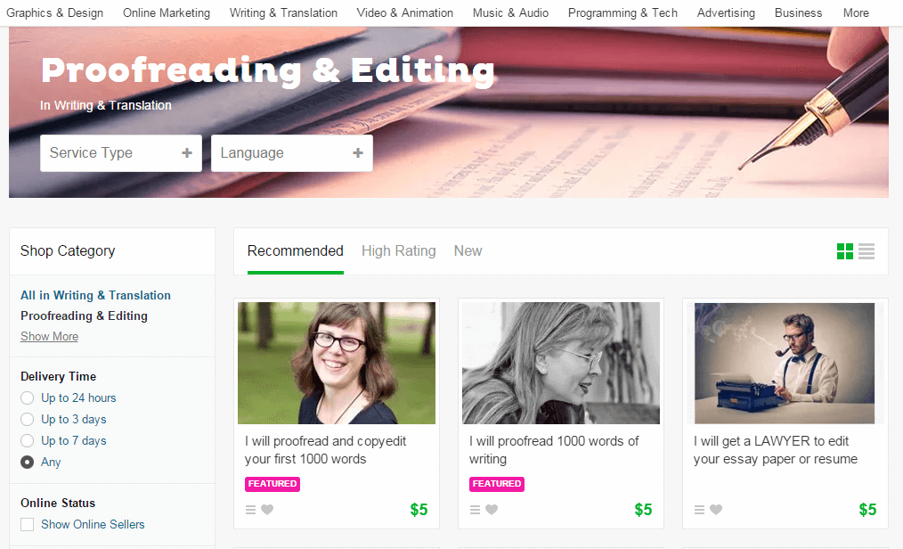 proofreaders in fiverr.com