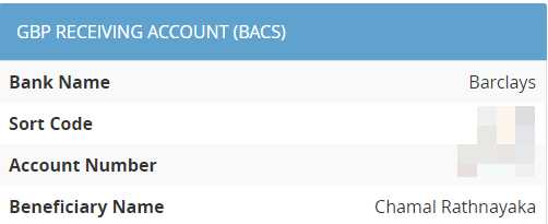 GBP Receiving Account: Barclays