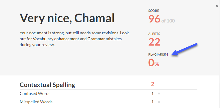 Plagiarism report by grammarly.com