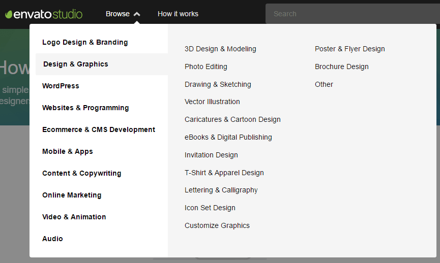 envato studio categories