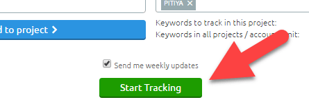 start tracking button pointing by arrow