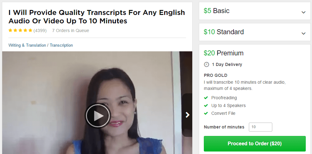 transcription gig fiverr