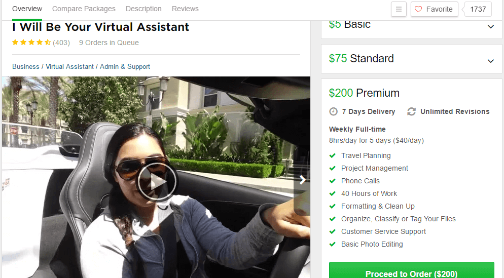 virtual assistant gig fiverr