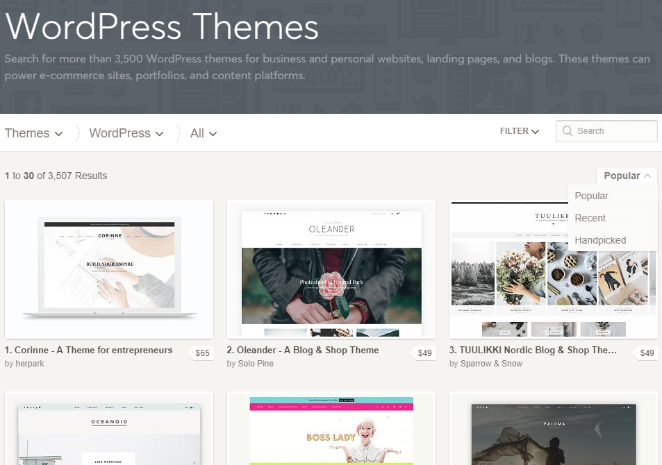 WordPress Themes by Creative Market