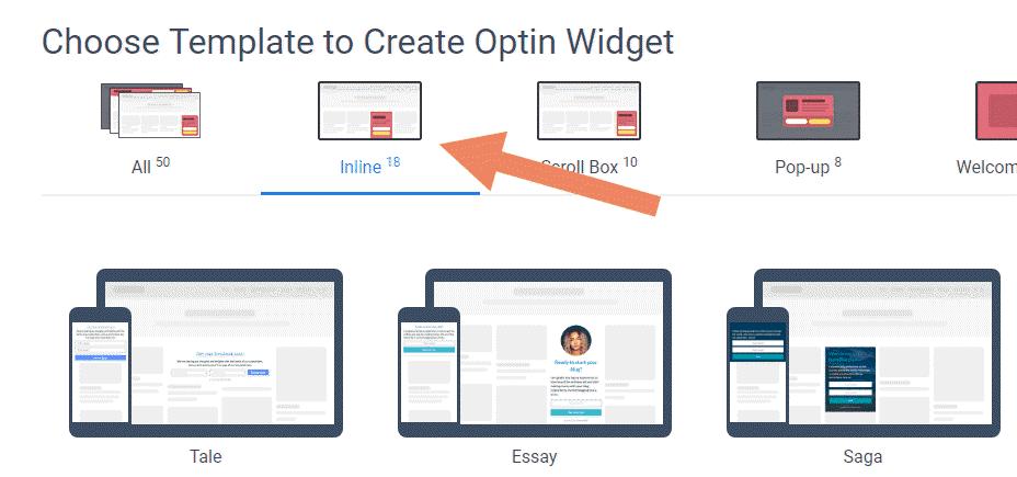 select a Convertful widget template