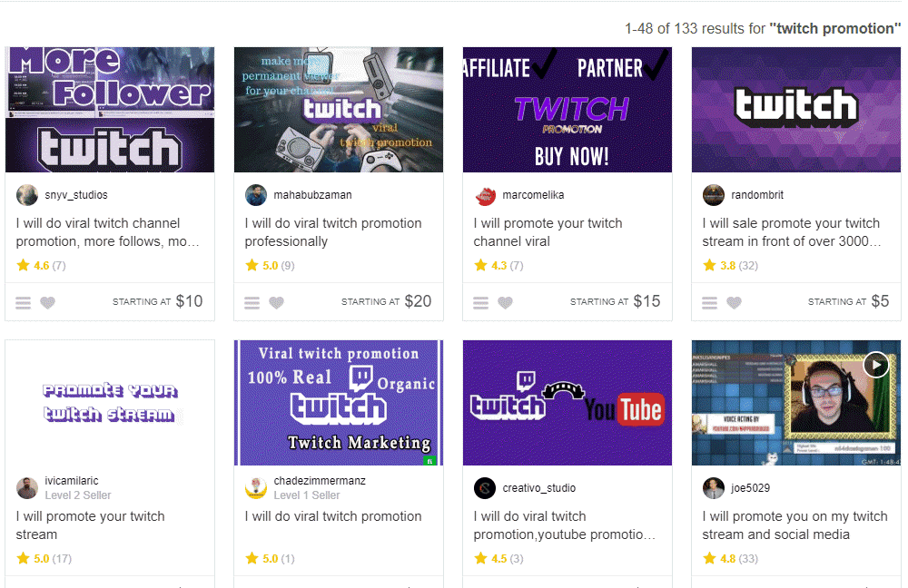 Twitch promotion fiverr gigs