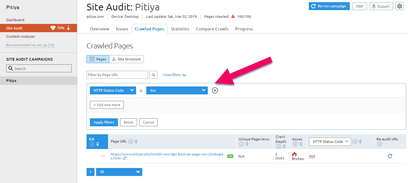 filter-siteaudit-report-semrush