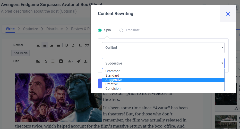 content rewriting options