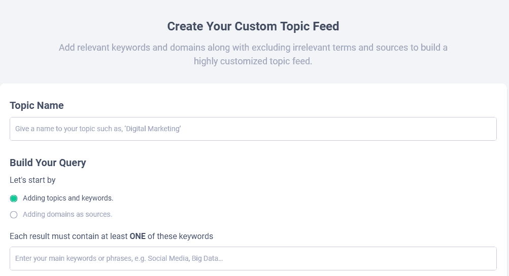 build custom topic in contentstudio.io
