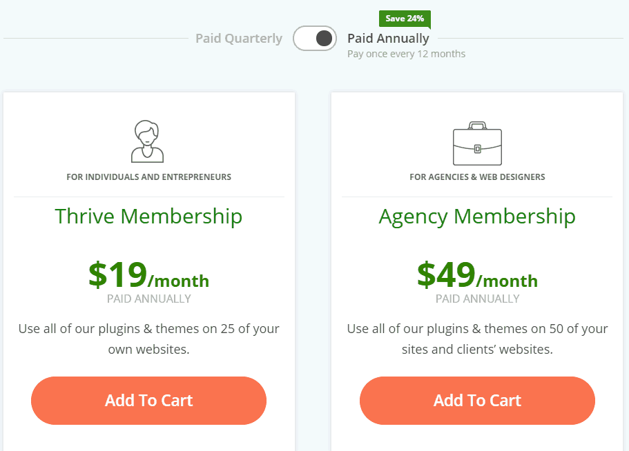 Thrive Themes Membership Pricing