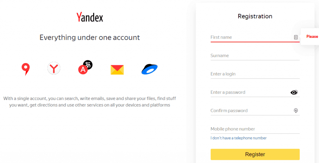 register Yandex account