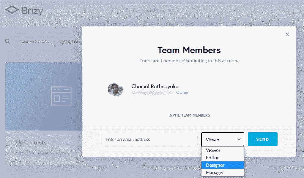 add team members to brizy project