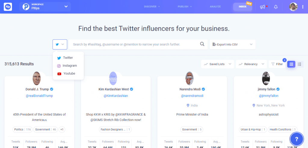 find influencers in contentstudio